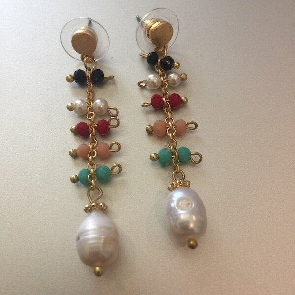 BE-1933 Gold plated stone earrings