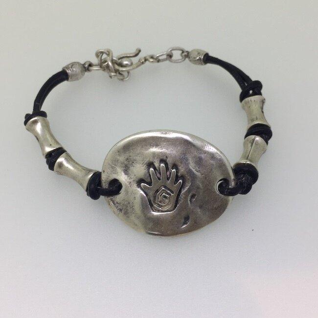 OTB-7 Silver plated leather bracelet