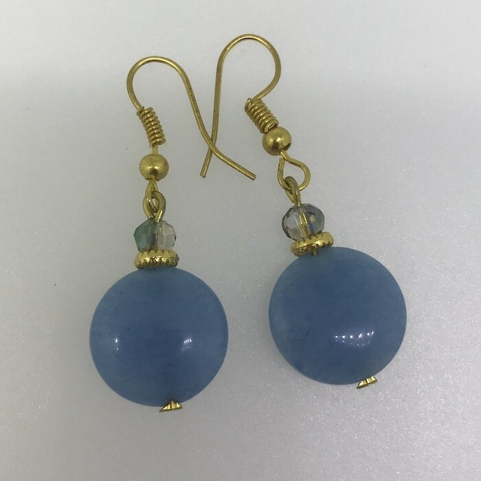 BE-2002 Silver & Gold plated stone earrings
