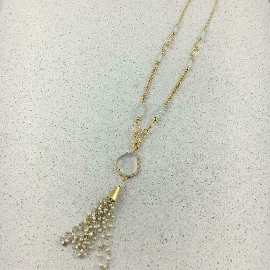 31493 - Silver & Gold Plated Stone Necklace