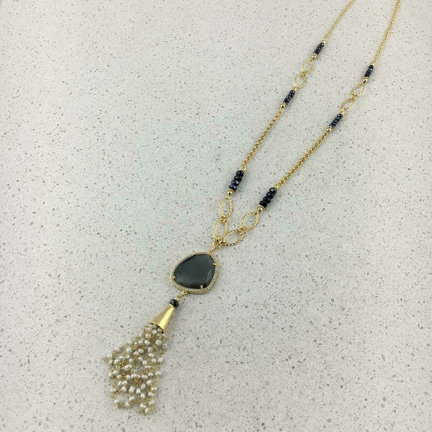 31496 - Silver & Gold Plated Stone Necklace