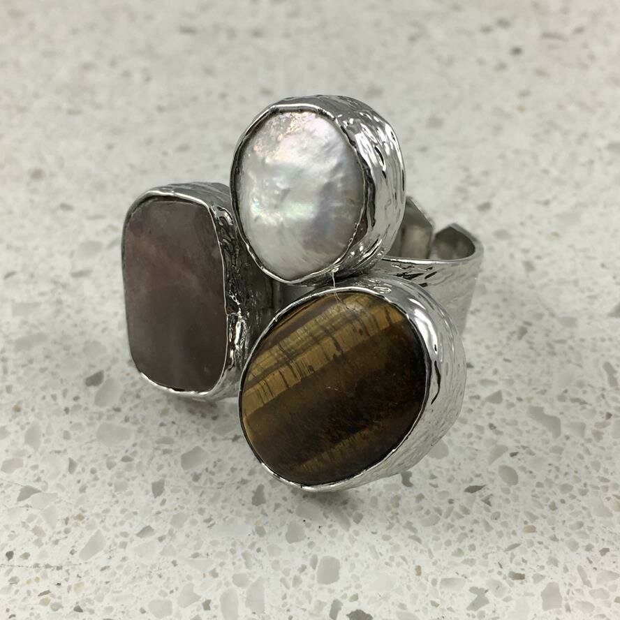 37474BRS - Silver & Gold Plated Stone Ring