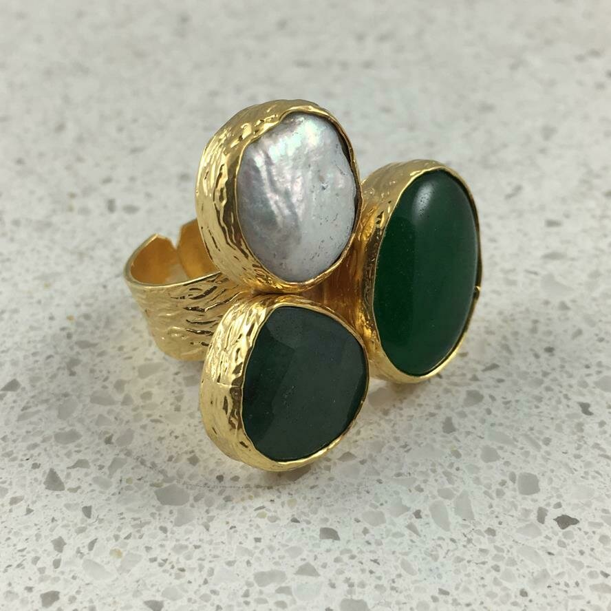 37474GRN - Silver & Gold Plated Stone Ring