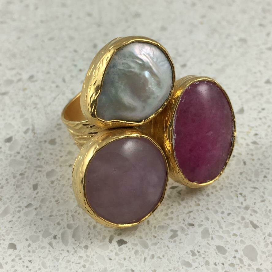 37474PNK - Silver & Gold Plated Stone Ring