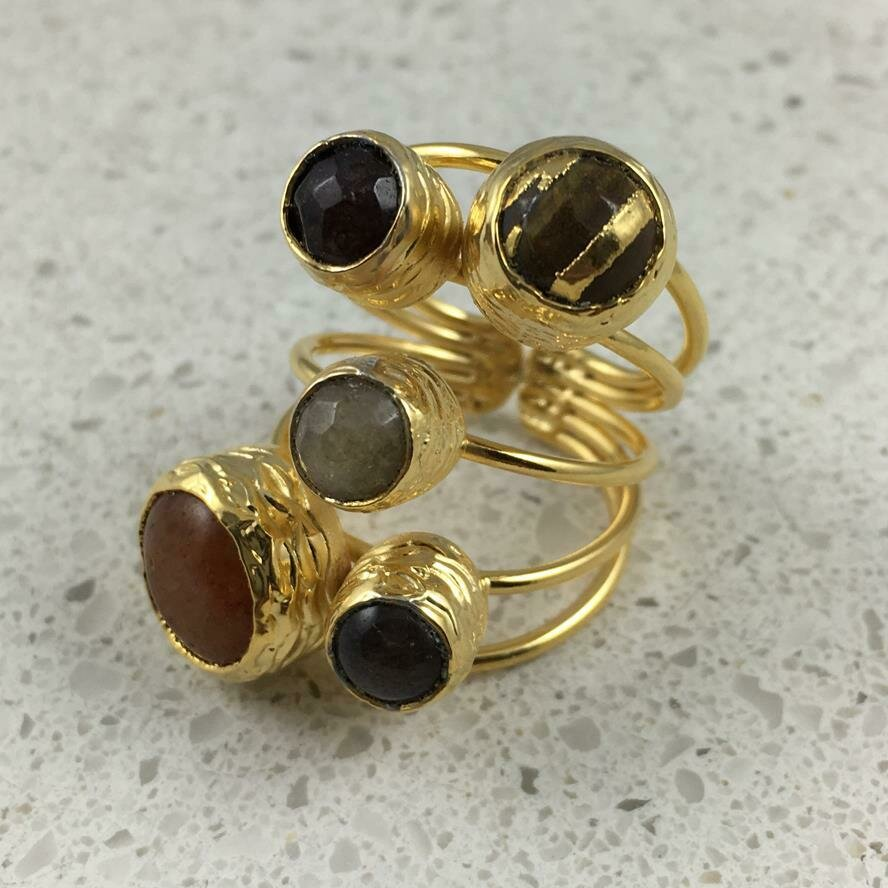 38501BR - Silver & Gold Plated Stone Ring