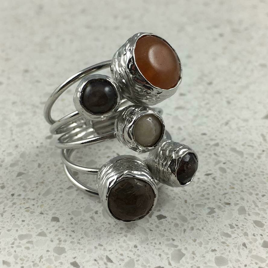 38501BRS - Silver & Gold Plated Stone Ring
