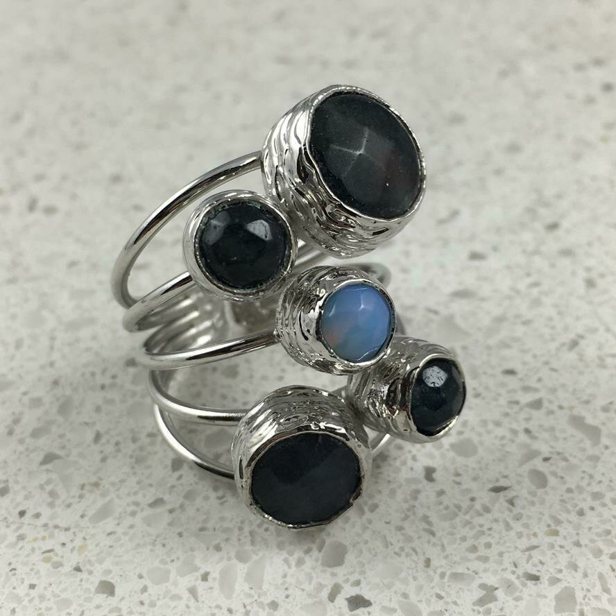 38501GRYS - Silver & Gold Plated Stone Ring