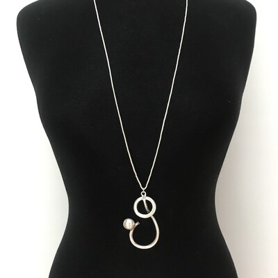OTN-55 Silver plated pendant necklace