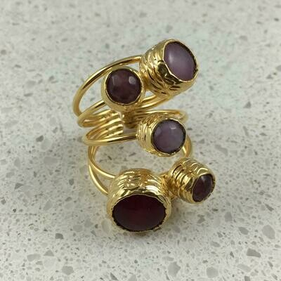 38501PNK - Silver & Gold Plated Stone Ring