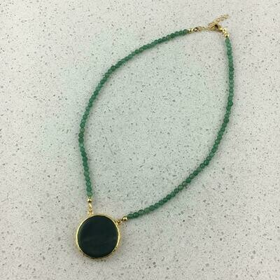 31355 - Silver & Gold Plated Stone Necklace