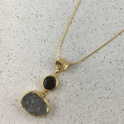 31412 - Silver & Gold Plated Stone Necklace