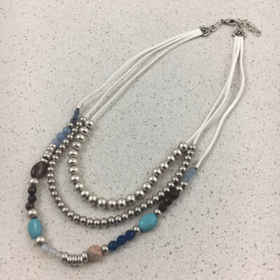 42593W - Silver & Gold Plated Stone Necklace