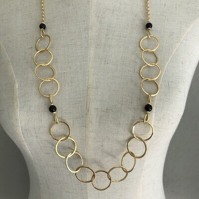 BN-1906 Silver and gold plated stone necklace