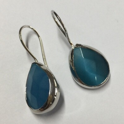 BE-823 blue - silver plated stone earrings