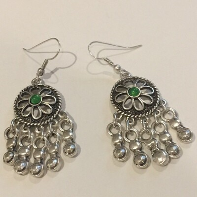 OTE-003GREEN - Silver plated earrings