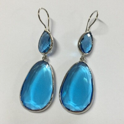 BE-830 silver plated stone earrings