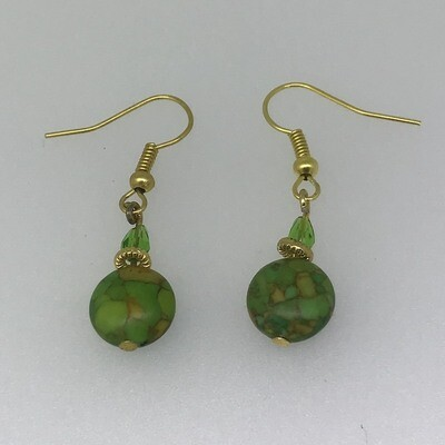 BE-9 Silver & Gold plated stone earrings