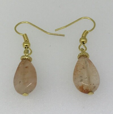 BE-6 Silver & Gold plated stone earrings