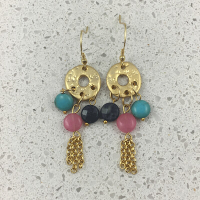 B503G - Silver & Gold Plated Stone Earring