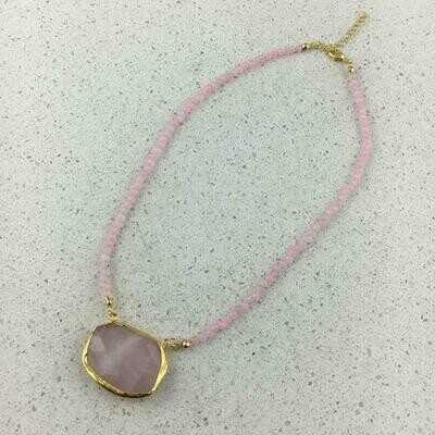31367 - Silver & Gold Plated Stone Necklace