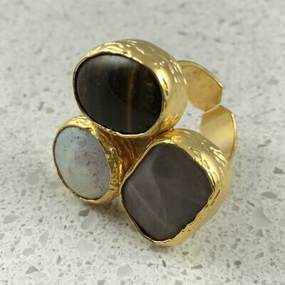 37474BR - Silver & Gold Plated Stone Ring