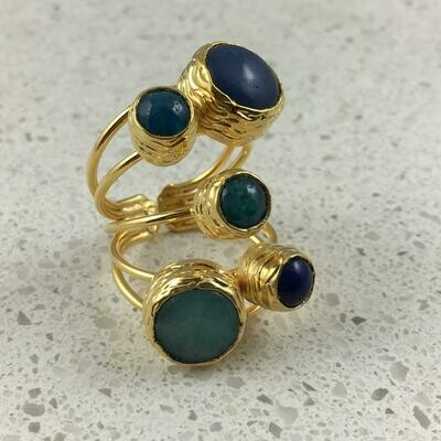 38501BL - Silver & Gold Plated Stone Ring
