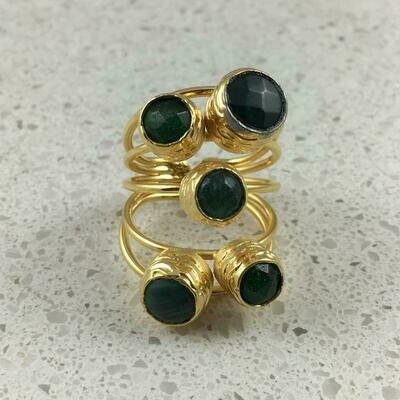 38501GRN - Silver & Gold Plated Stone Ring