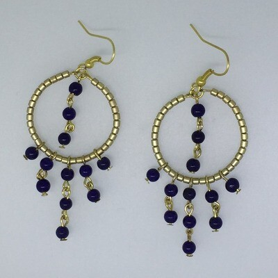 BE-11 Silver & Gold plated stone earrings