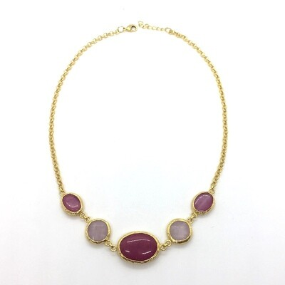 LHN-70 Gold plated stone necklace