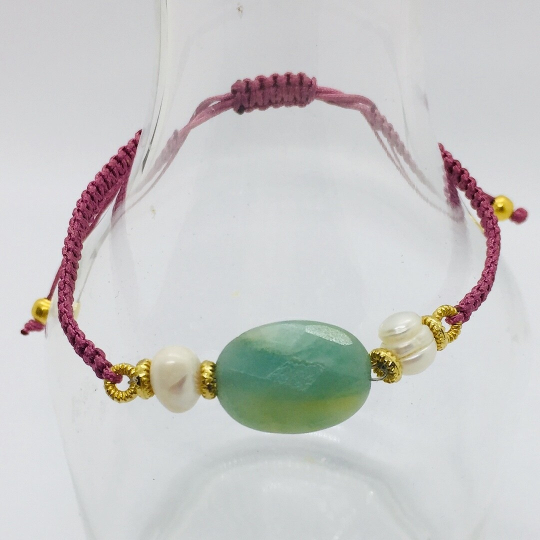 34303AQUA - Silver & Gold Plated Stone Bracelet