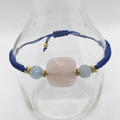 34303ROSE - Silver & Gold Plated Stone Bracelet