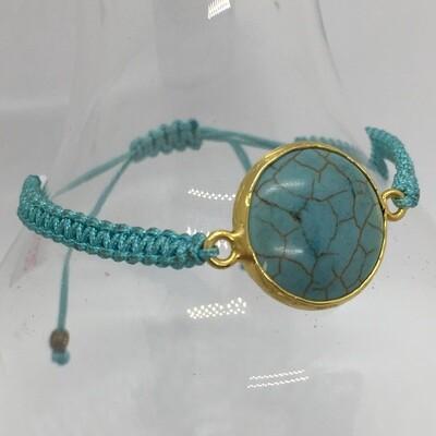 33335 - Silver & Gold Plated Stone Bracelet