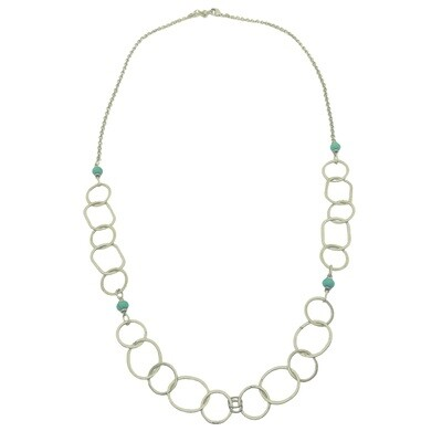 LHN-71 Silver plated stone necklace