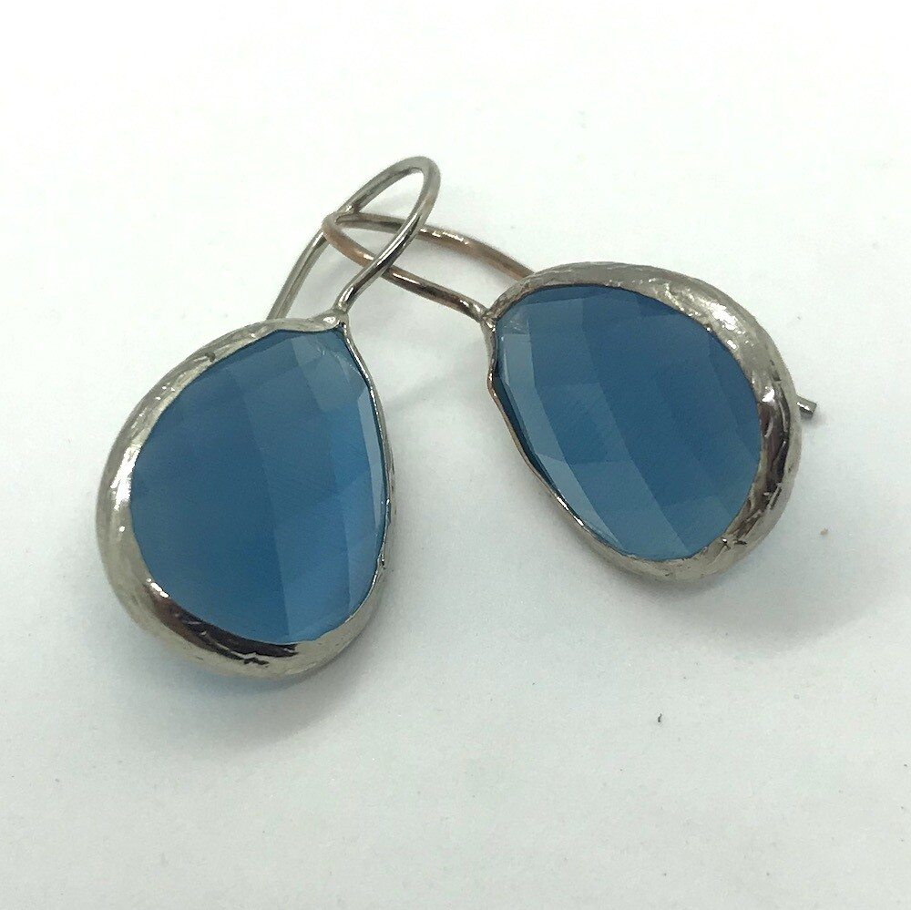 45005S - Silver & Gold Plated Stone Earring