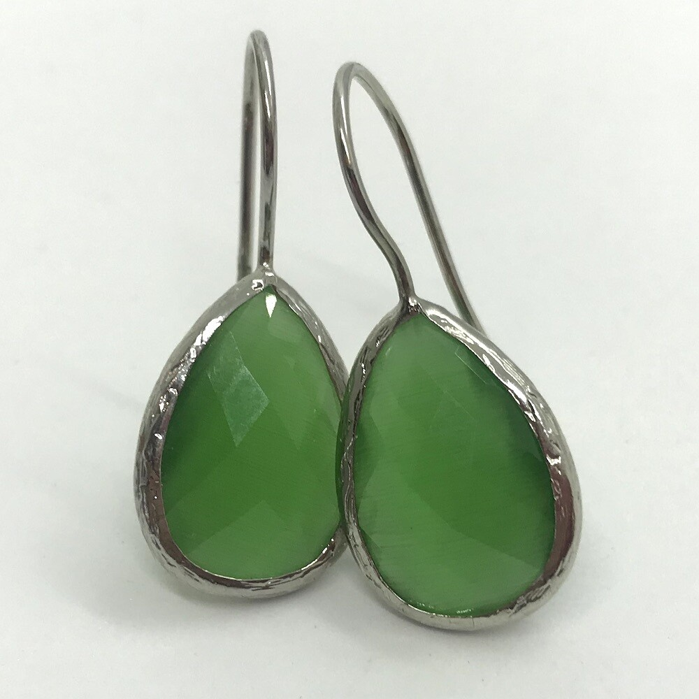 45007S - Silver & Gold Plated Stone Earring