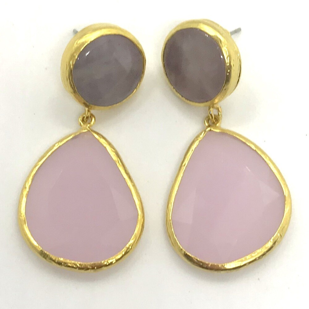 45423 - Silver & Gold Plated Stone Earring