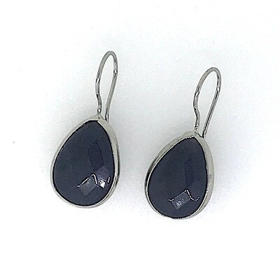 BE-202 Silver plated stone earrings