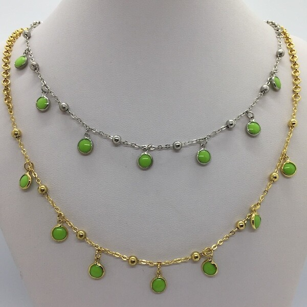 B112G - Silver & Gold Plated Stone Necklace