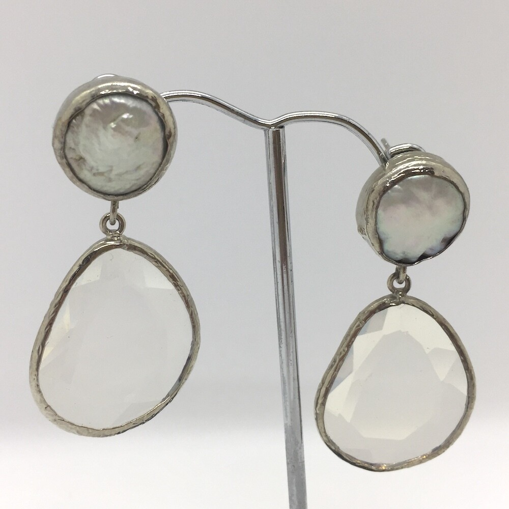45426S - Silver & Gold Plated Stone Earring