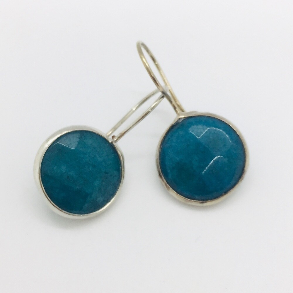 BE-815 silver plated stone earrings
