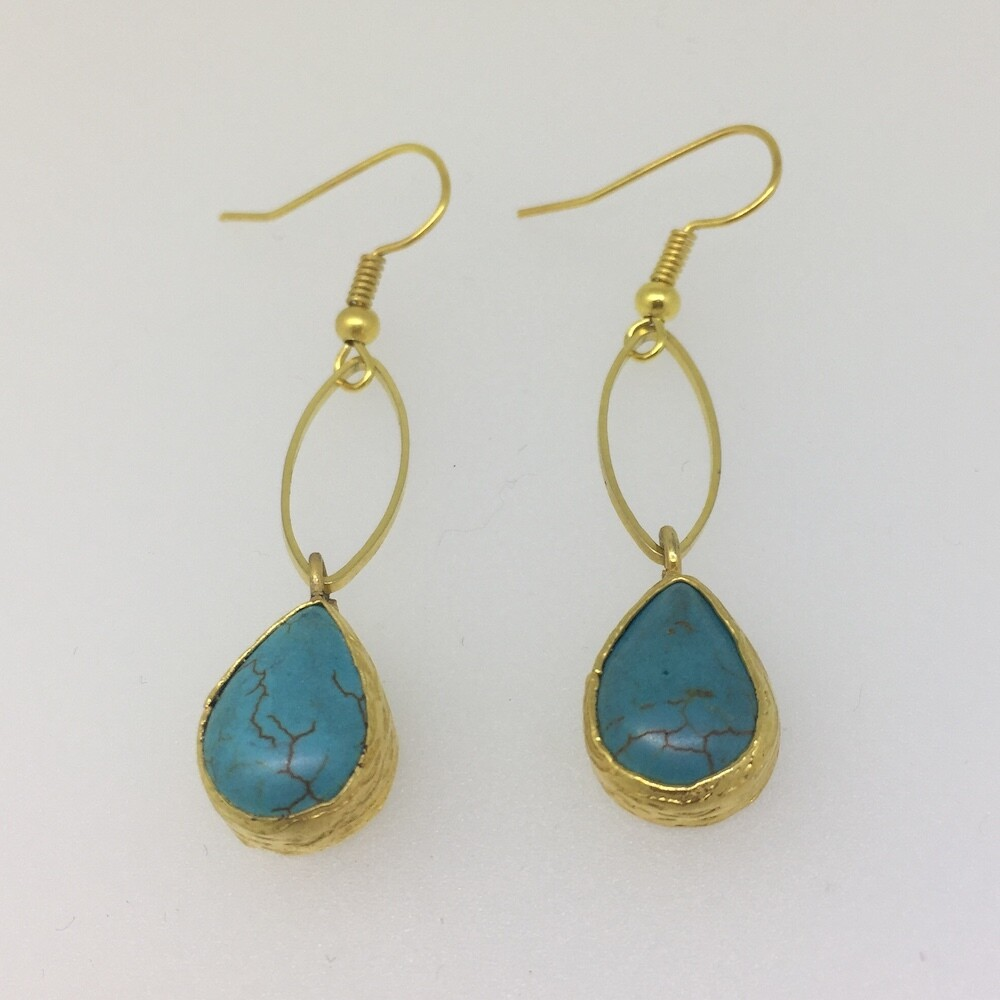 LHE-6 Gold plated stone earrings