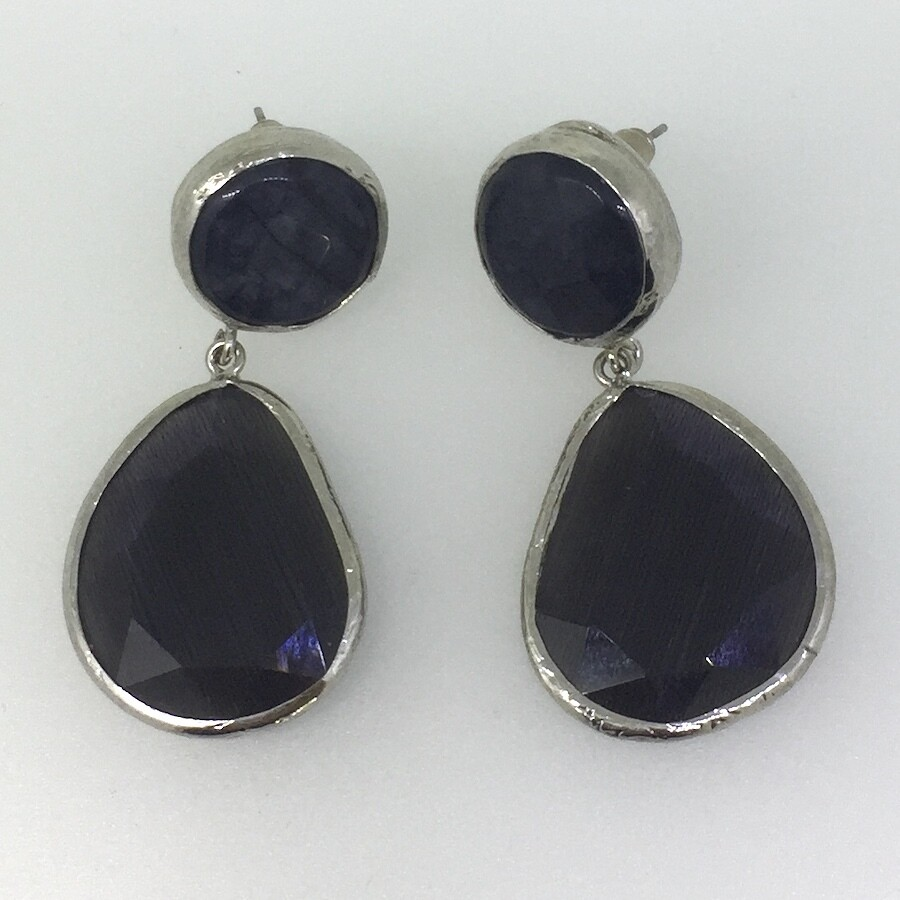 45427S - Silver & Gold Plated Stone Earring