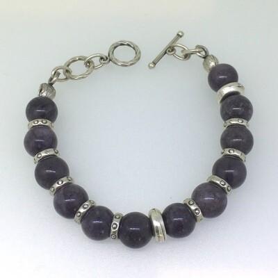 LHB-7 Silver plated stone bracelet
