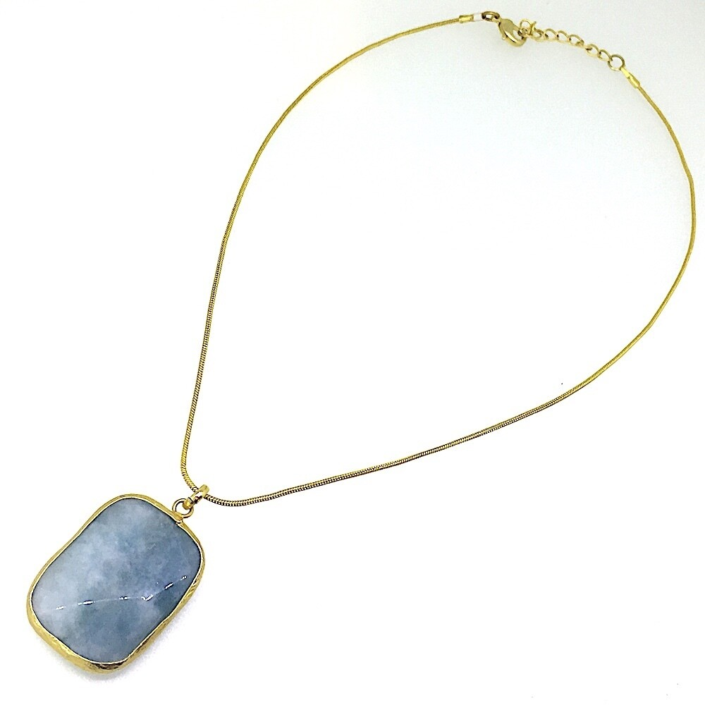 31089 - Silver & Gold Plated Stone Necklace
