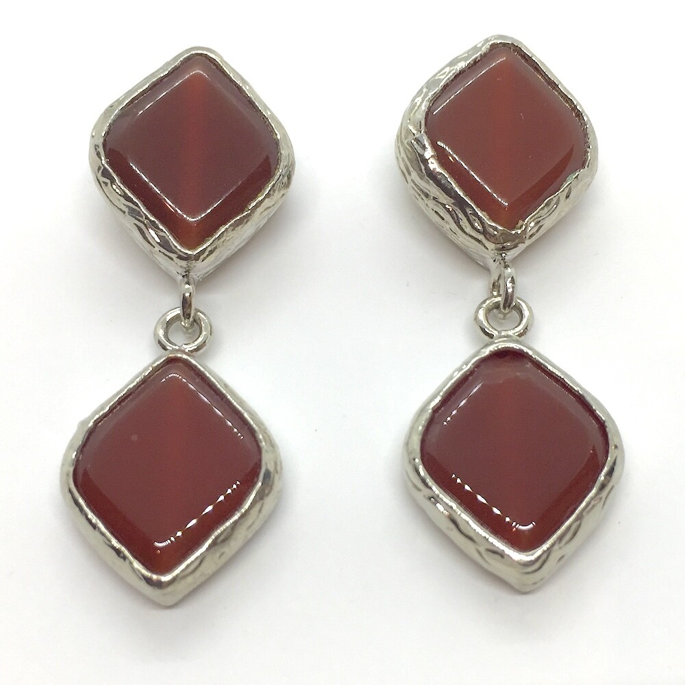 BE-51282 Silver plated stone earrings