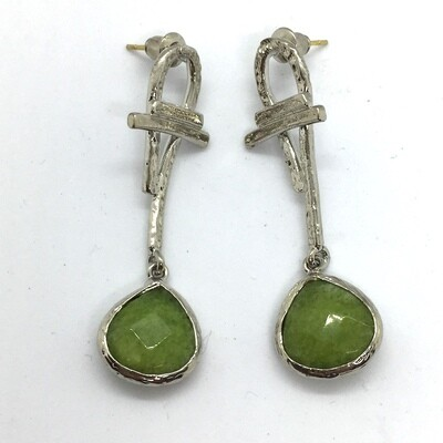 BE-51205 Silver plated stone earrings