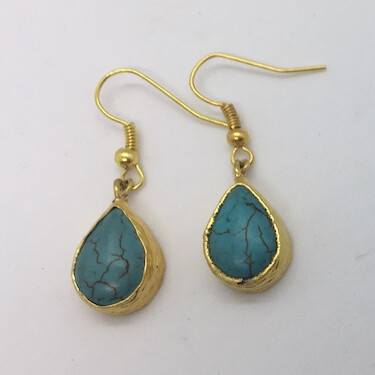 BE-13 Gold plated turquoise earrings