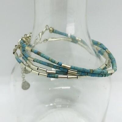 OTB-20 Silver plated blue bracelets