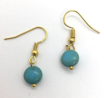 BE-14 Gold plated stone earrings