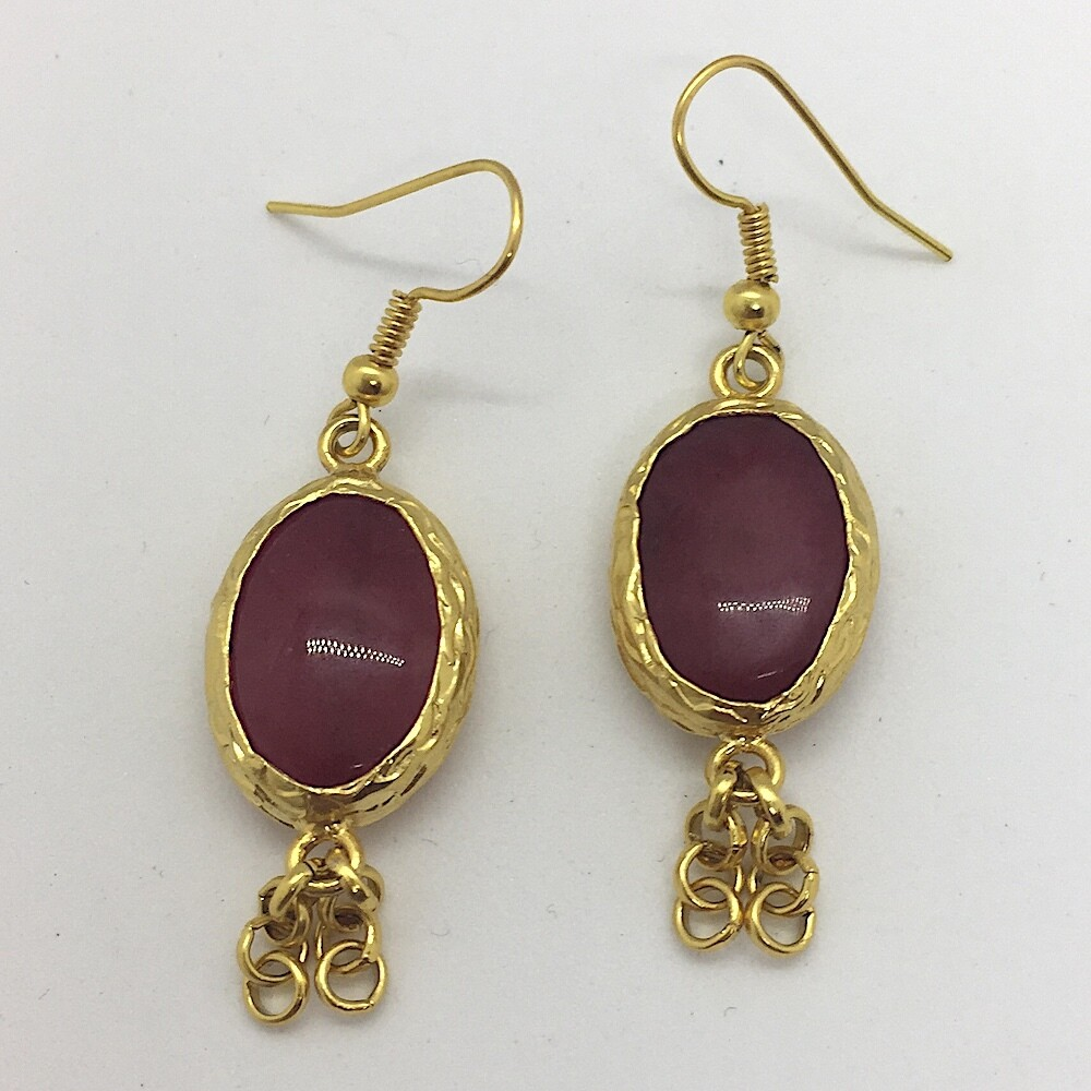 BE-17 Gold plated stone earrings
